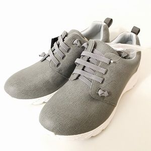 Nurse Mates Shoes - Leather Non Slip Velocity Grey Sneaker NoTie Laces